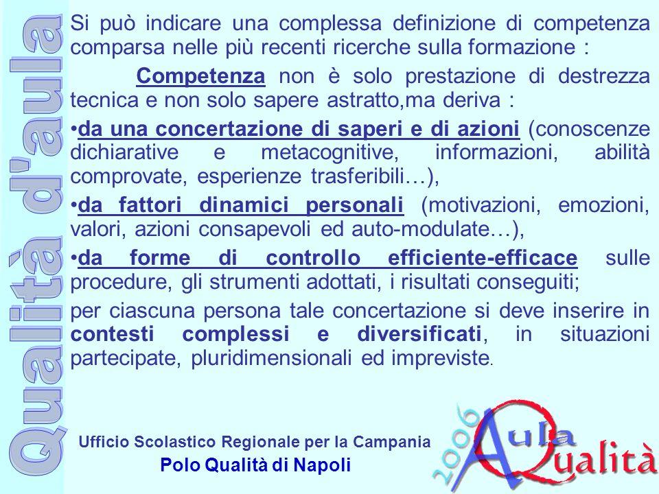 Ufficio Scolastico Regionale per la Campania Polo Qualità di Napoli Si può indicare una complessa definizione di competenza comparsa nelle più recenti