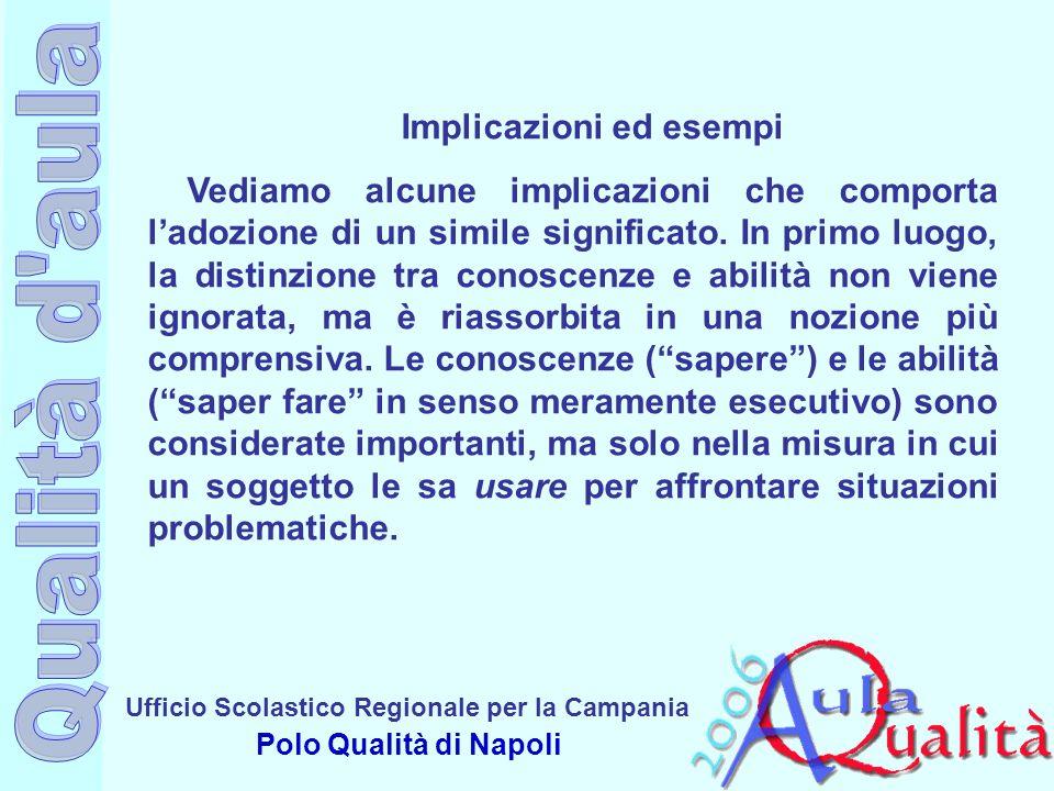 Ufficio Scolastico Regionale per la Campania Polo Qualità di Napoli Implicazioni ed esempi Vediamo alcune implicazioni che comporta ladozione di un si