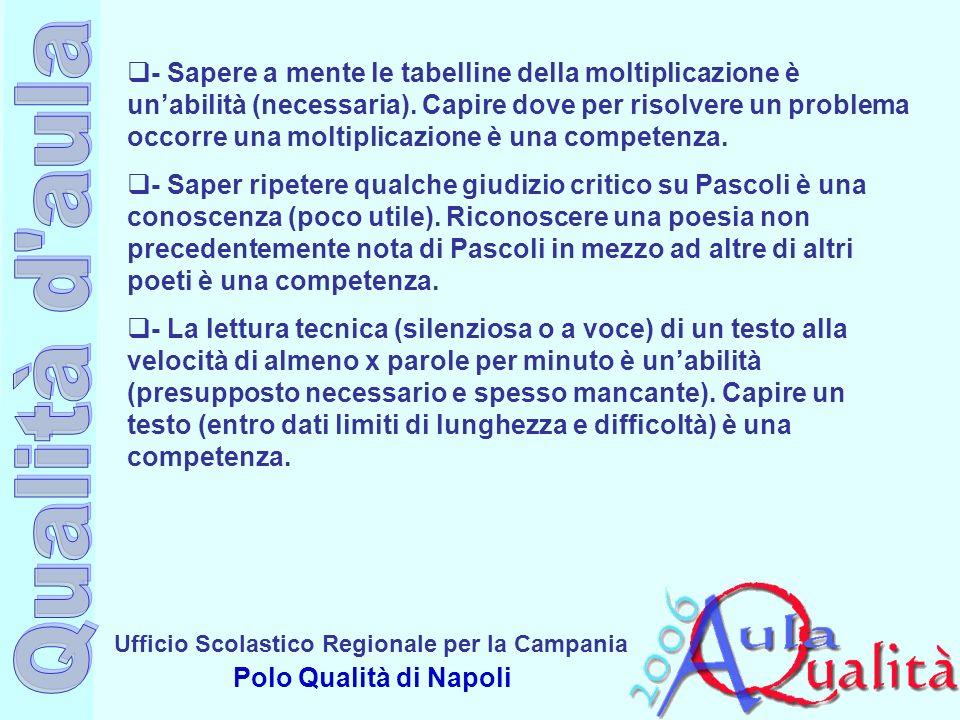 Ufficio Scolastico Regionale per la Campania Polo Qualità di Napoli - Sapere a mente le tabelline della moltiplicazione è unabilità (necessaria). Capi