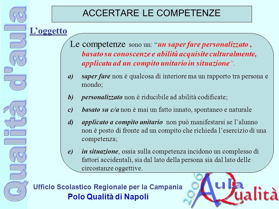 Ufficio Scolastico Regionale per la Campania Polo Qualità di Napoli Loggetto ACCERTARE LE COMPETENZE Le competenze sono un: un saper fare personalizza