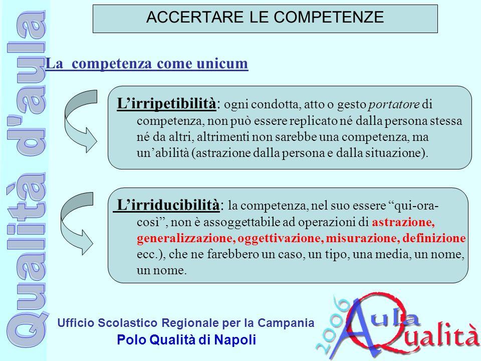 Ufficio Scolastico Regionale per la Campania Polo Qualità di Napoli La competenza come unicum ACCERTARE LE COMPETENZE Lirripetibilità: ogni condotta,