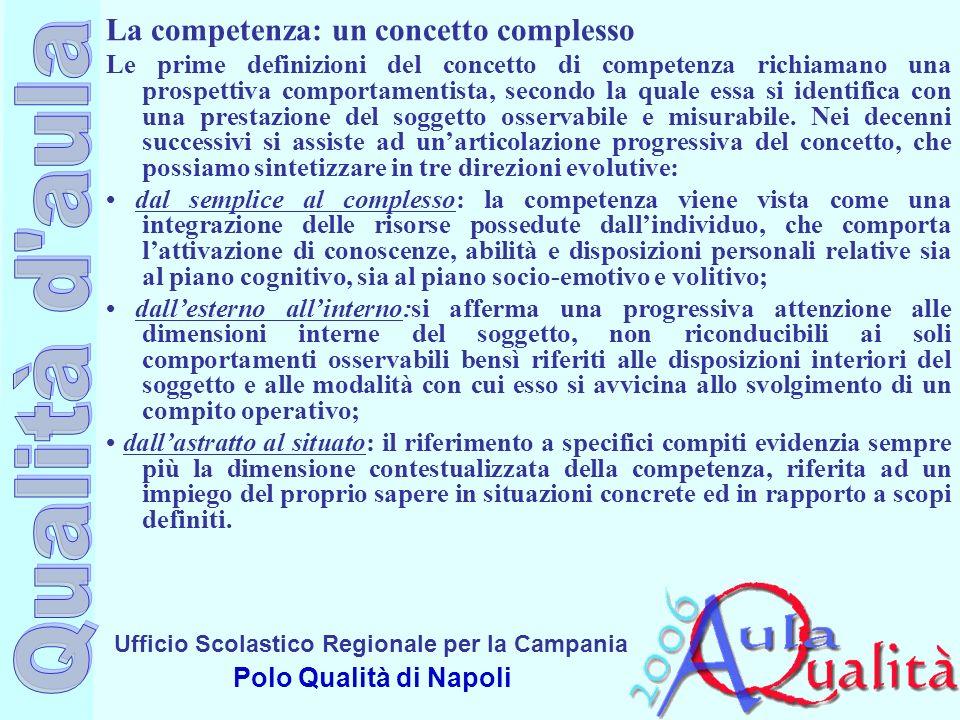 Ufficio Scolastico Regionale per la Campania Polo Qualità di Napoli La competenza: un concetto complesso Le prime definizioni del concetto di competen