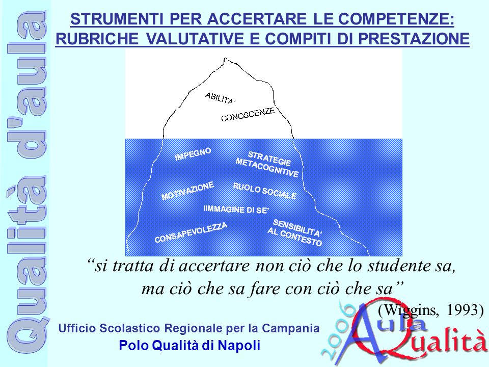 Ufficio Scolastico Regionale per la Campania Polo Qualità di Napoli STRUMENTI PER ACCERTARE LE COMPETENZE: RUBRICHE VALUTATIVE E COMPITI DI PRESTAZION