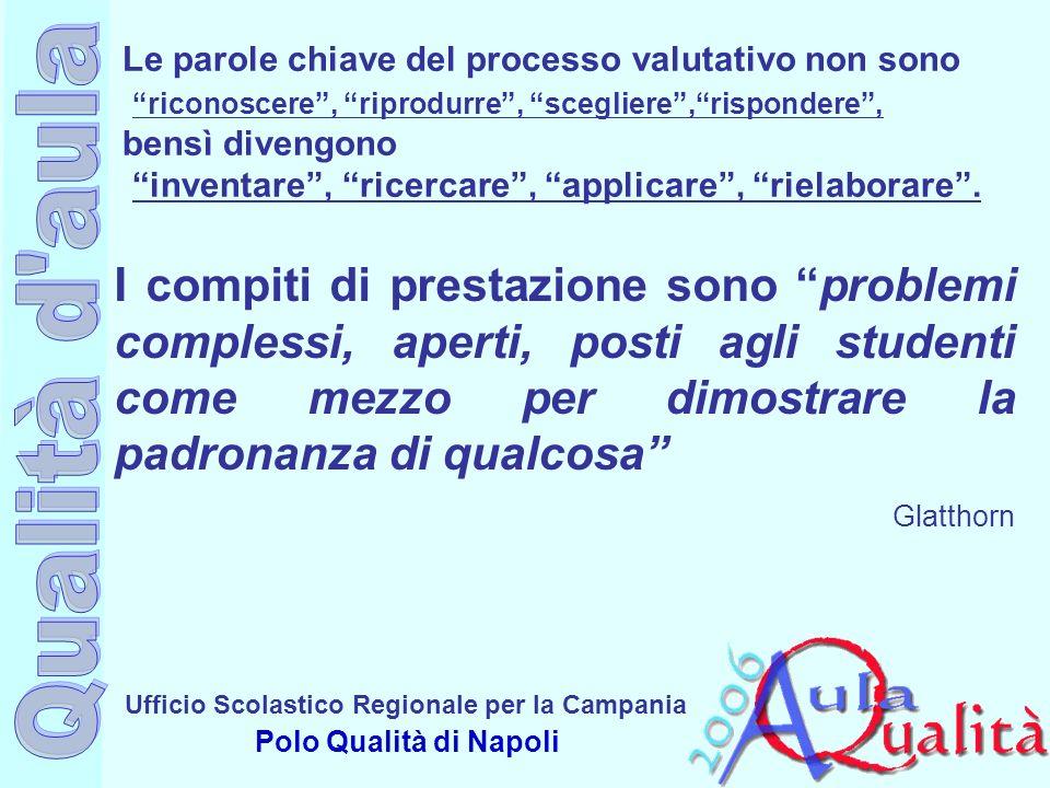 Ufficio Scolastico Regionale per la Campania Polo Qualità di Napoli Le parole chiave del processo valutativo non sono riconoscere, riprodurre, sceglie