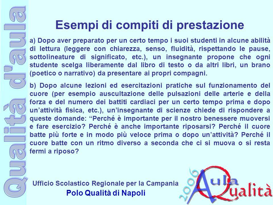 Ufficio Scolastico Regionale per la Campania Polo Qualità di Napoli Esempi di compiti di prestazione a) Dopo aver preparato per un certo tempo i suoi