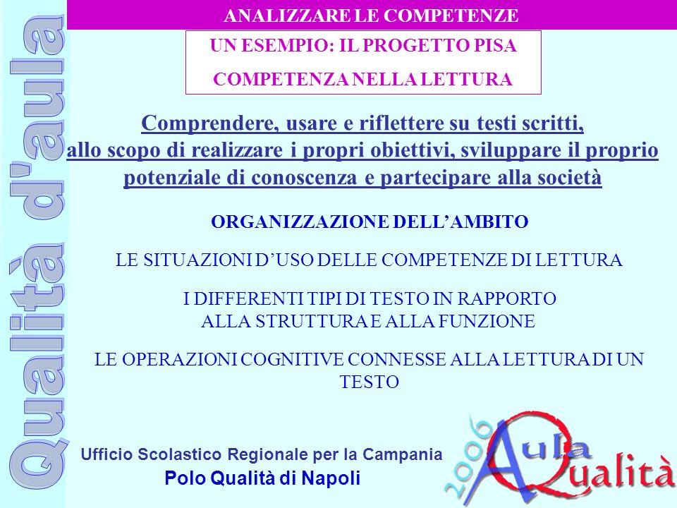Ufficio Scolastico Regionale per la Campania Polo Qualità di Napoli Comprendere, usare e riflettere su testi scritti, allo scopo di realizzare i propr