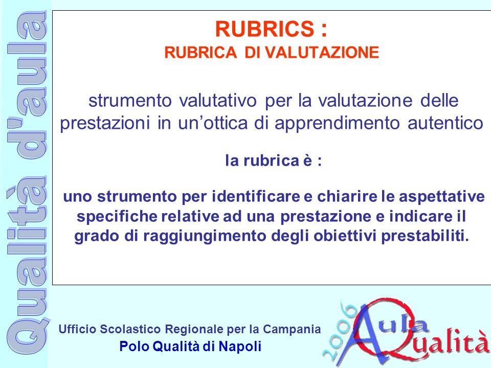 Ufficio Scolastico Regionale per la Campania Polo Qualità di Napoli RUBRICS : RUBRICA DI VALUTAZIONE strumento valutativo per la valutazione delle pre