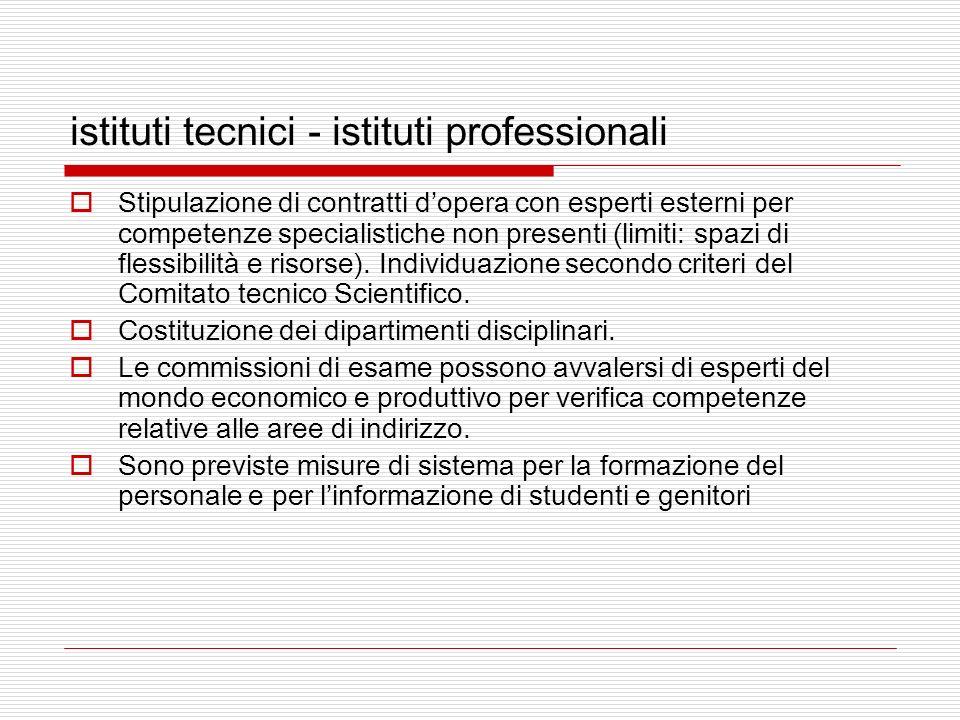 istituti tecnici - istituti professionali Stipulazione di contratti dopera con esperti esterni per competenze specialistiche non presenti (limiti: spazi di flessibilità e risorse).