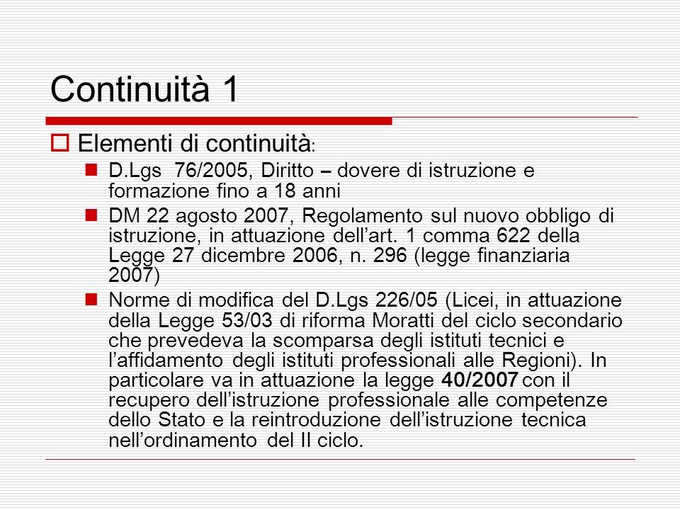 Continuità 1 Elementi di continuità : D.Lgs 76/2005, Diritto – dovere di istruzione e formazione fino a 18 anni DM 22 agosto 2007, Regolamento sul nuovo obbligo di istruzione, in attuazione dellart.