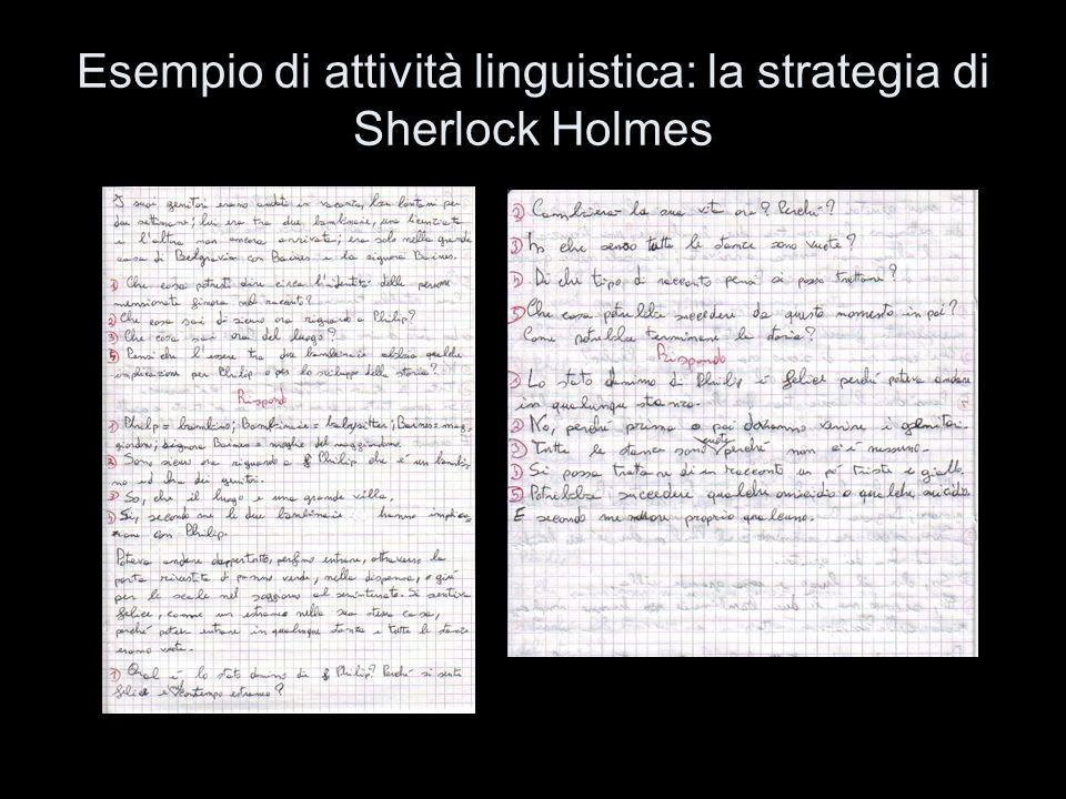 Esempio di attività linguistica: la strategia di Sherlock Holmes