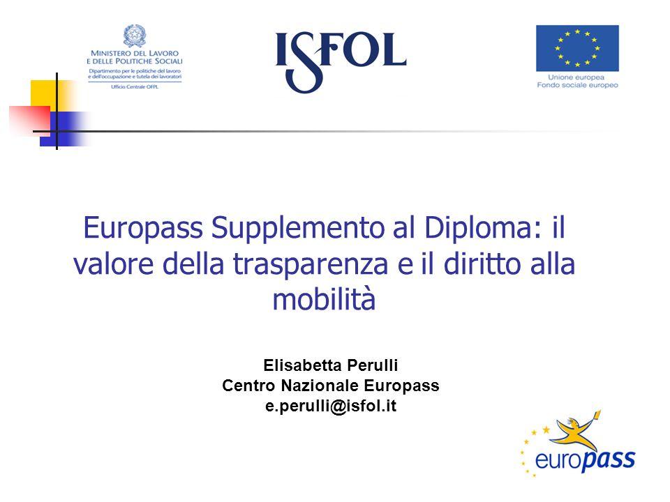 Europass Supplemento al Diploma: il valore della trasparenza e il diritto alla mobilità Elisabetta Perulli Centro Nazionale Europass e.perulli@isfol.it