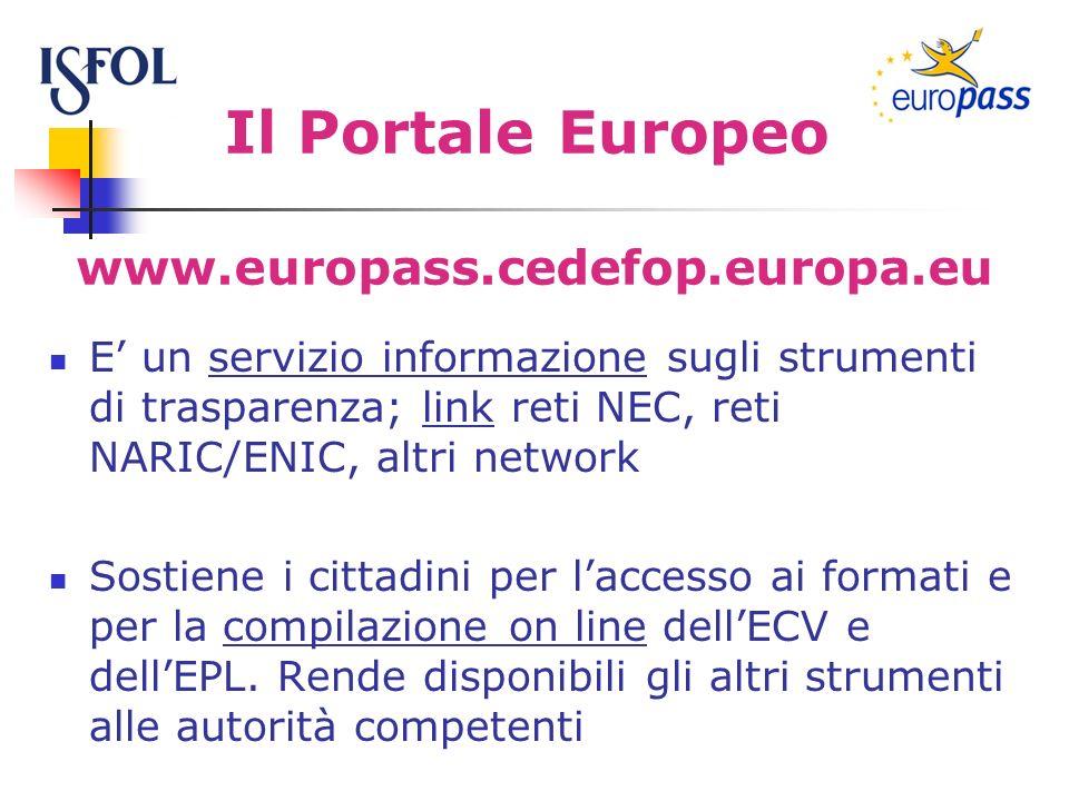 Il Portale Europeo E un servizio informazione sugli strumenti di trasparenza; link reti NEC, reti NARIC/ENIC, altri network Sostiene i cittadini per laccesso ai formati e per la compilazione on line dellECV e dellEPL.