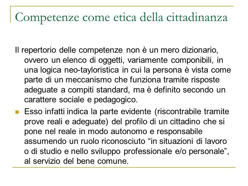 Competenze come etica della cittadinanza Il repertorio delle competenze non è un mero dizionario, ovvero un elenco di oggetti, variamente componibili,