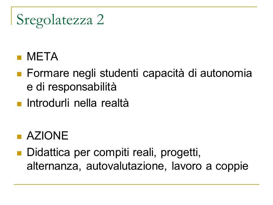 Sregolatezza 2 META Formare negli studenti capacità di autonomia e di responsabilità Introdurli nella realtà AZIONE Didattica per compiti reali, proge