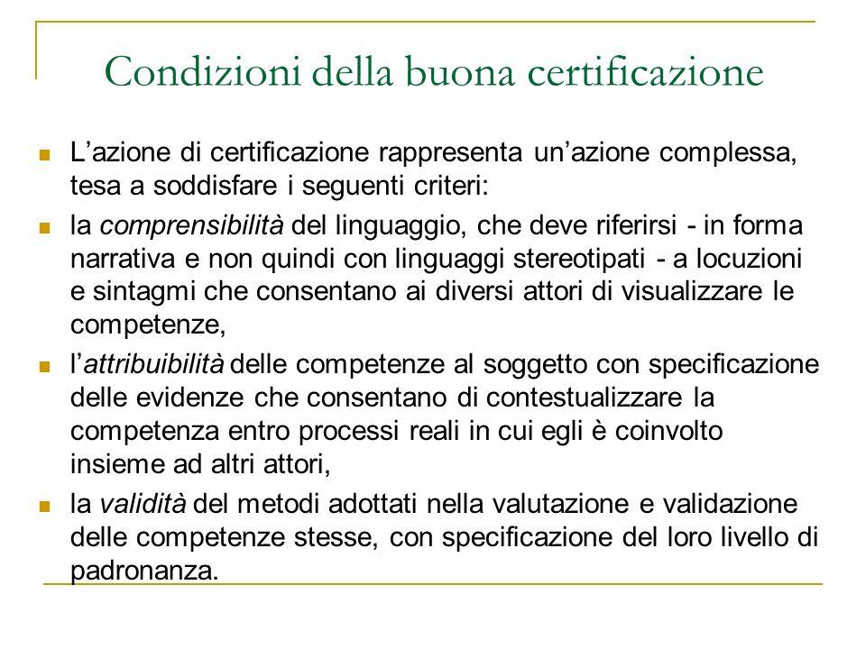 Condizioni della buona certificazione Lazione di certificazione rappresenta unazione complessa, tesa a soddisfare i seguenti criteri: la comprensibili