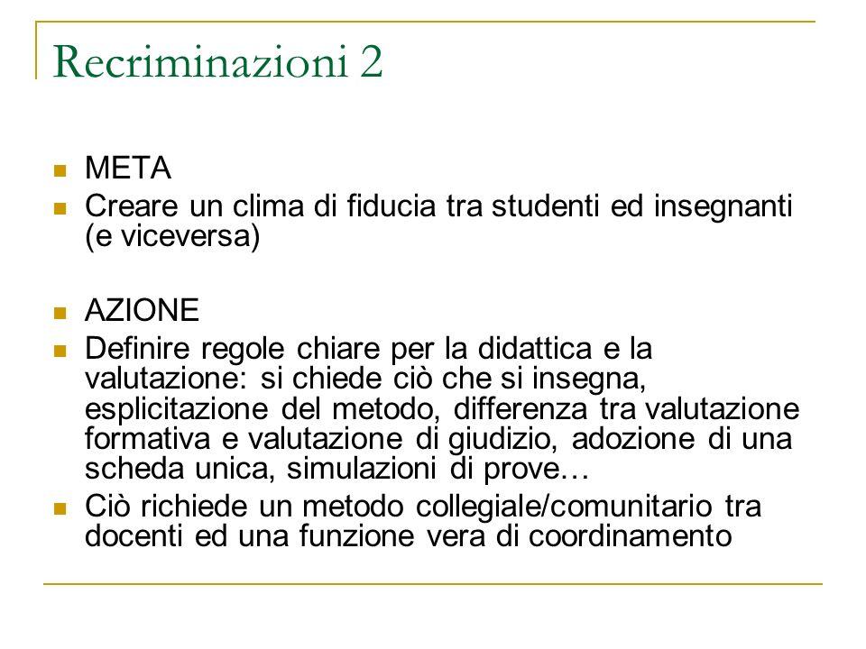 Recriminazioni 2 META Creare un clima di fiducia tra studenti ed insegnanti (e viceversa) AZIONE Definire regole chiare per la didattica e la valutazi