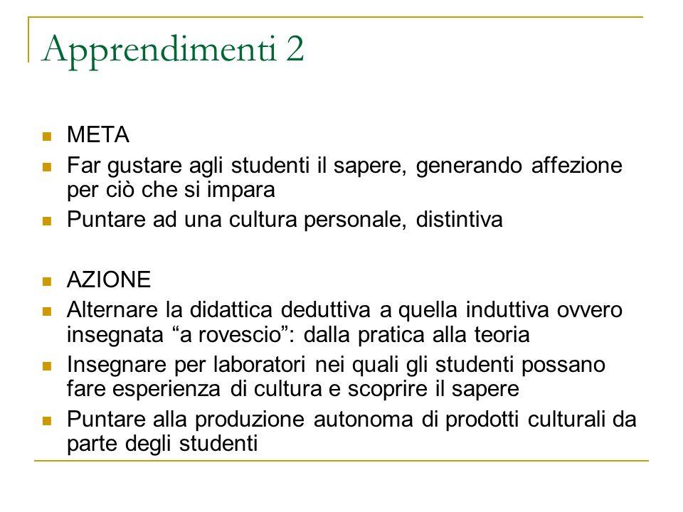 Apprendimenti 2 META Far gustare agli studenti il sapere, generando affezione per ciò che si impara Puntare ad una cultura personale, distintiva AZION
