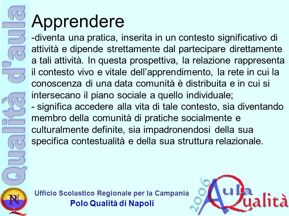 Ufficio Scolastico Regionale per la Campania Polo Qualità di Napoli Apprendere -diventa una pratica, inserita in un contesto significativo di attività