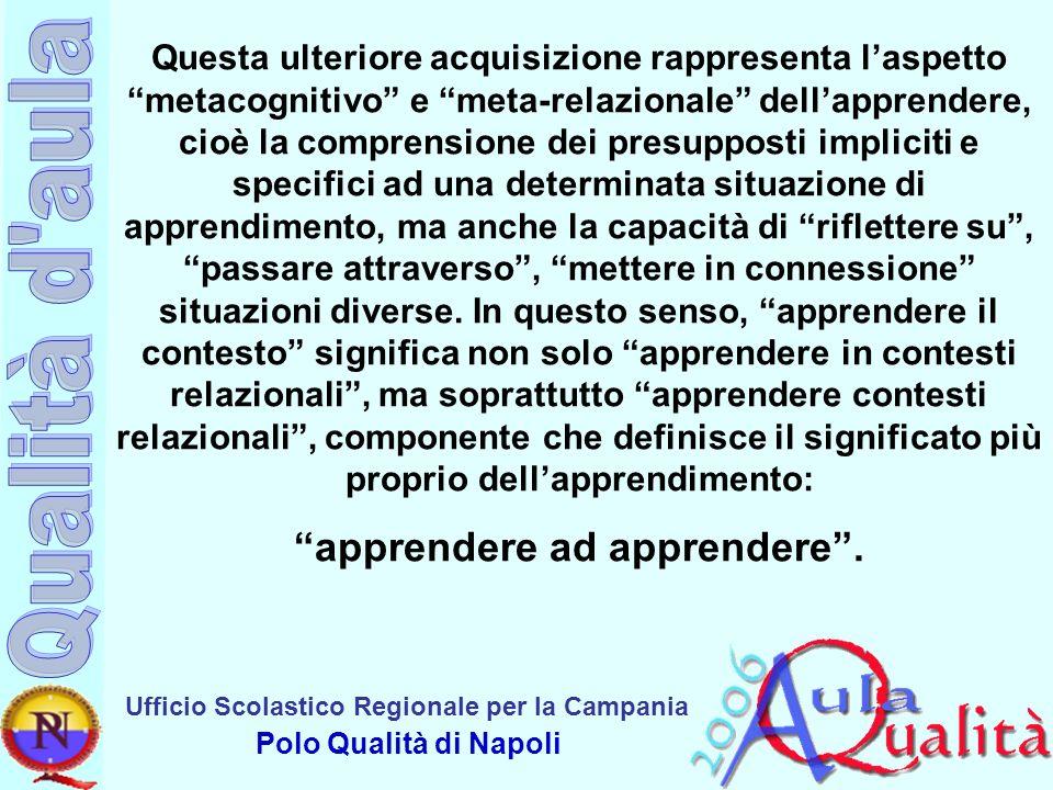 Ufficio Scolastico Regionale per la Campania Polo Qualità di Napoli Questa ulteriore acquisizione rappresenta laspetto metacognitivo e meta-relazional