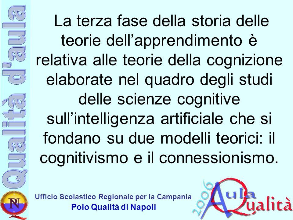 Ufficio Scolastico Regionale per la Campania Polo Qualità di Napoli La terza fase della storia delle teorie dellapprendimento è relativa alle teorie d