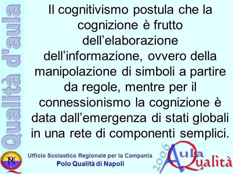 Ufficio Scolastico Regionale per la Campania Polo Qualità di Napoli Il cognitivismo postula che la cognizione è frutto dellelaborazione dellinformazio