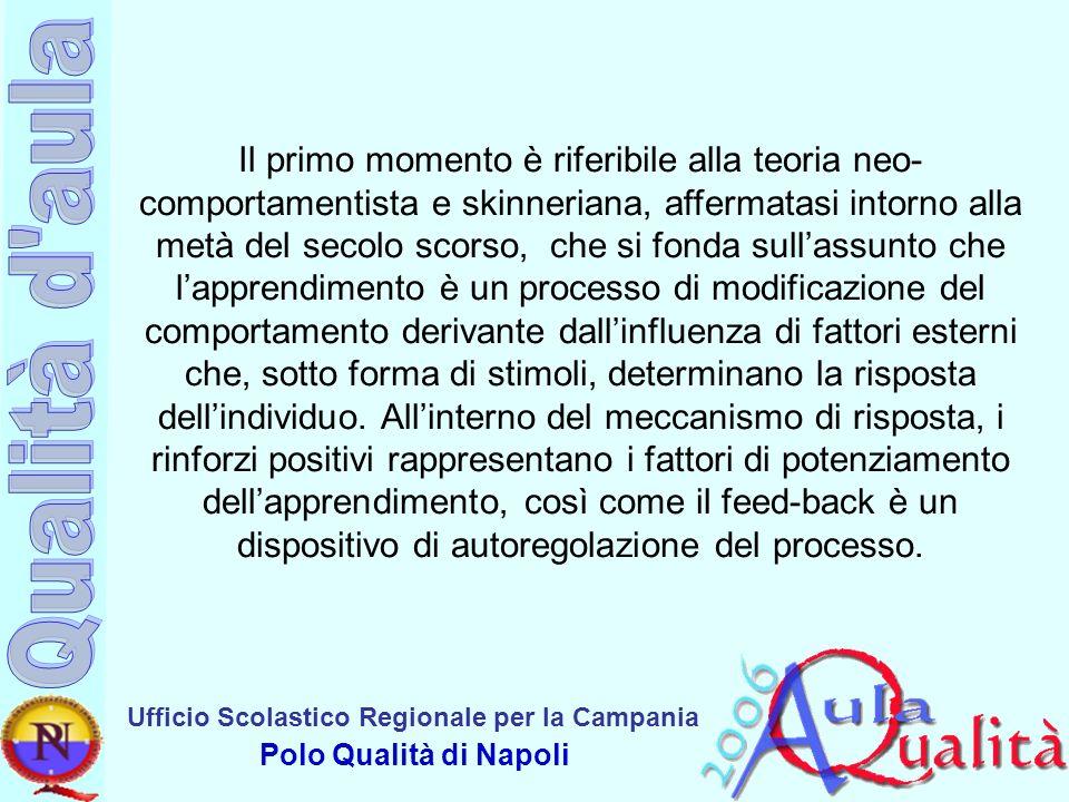 Ufficio Scolastico Regionale per la Campania Polo Qualità di Napoli Il primo momento è riferibile alla teoria neo- comportamentista e skinneriana, aff