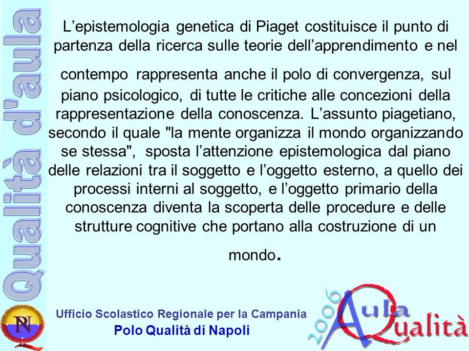 Ufficio Scolastico Regionale per la Campania Polo Qualità di Napoli Lepistemologia genetica di Piaget costituisce il punto di partenza della ricerca s