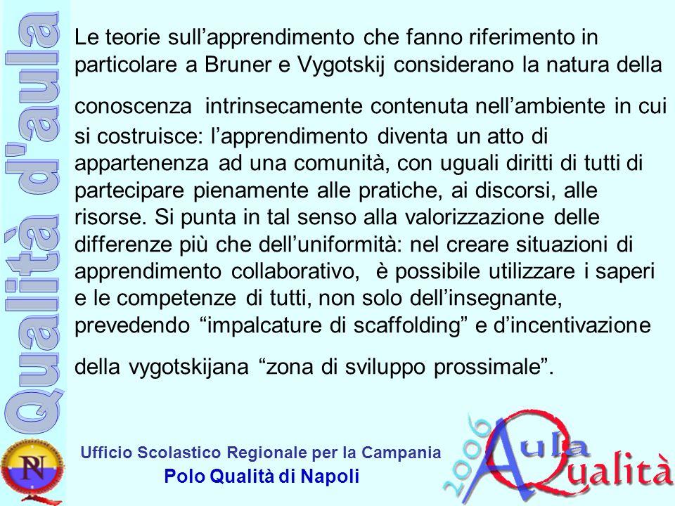 Ufficio Scolastico Regionale per la Campania Polo Qualità di Napoli Le teorie sullapprendimento che fanno riferimento in particolare a Bruner e Vygots