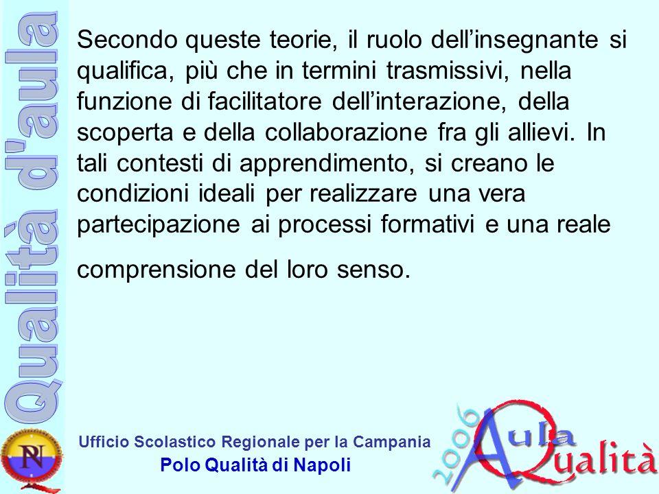 Ufficio Scolastico Regionale per la Campania Polo Qualità di Napoli Secondo queste teorie, il ruolo dellinsegnante si qualifica, più che in termini tr
