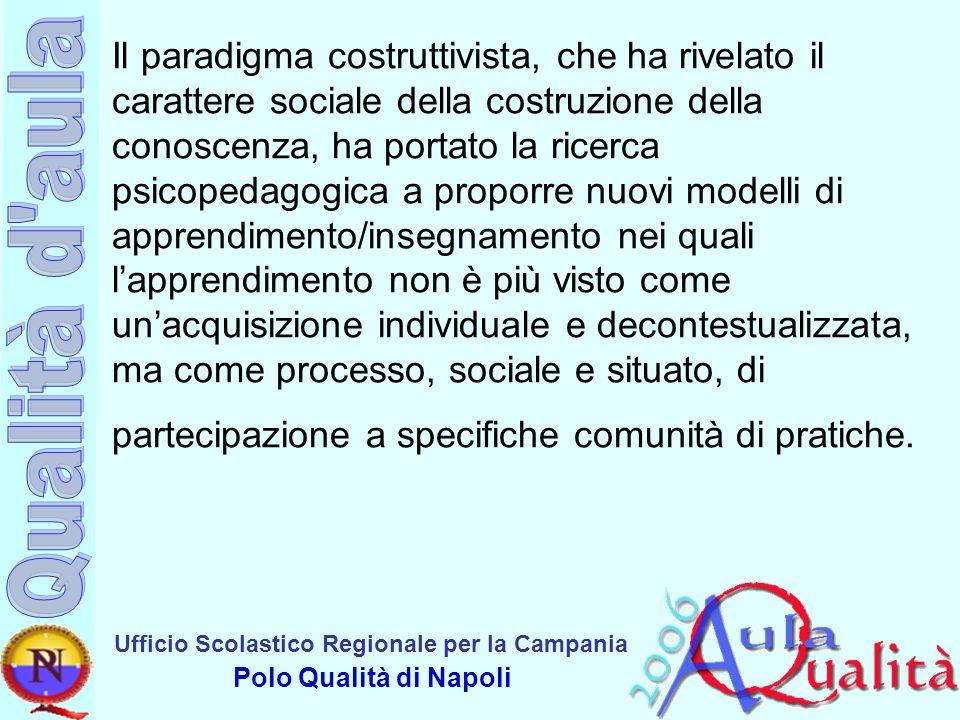 Ufficio Scolastico Regionale per la Campania Polo Qualità di Napoli Apprendere -diventa una pratica, inserita in un contesto significativo di attività e dipende strettamente dal partecipare direttamente a tali attività.