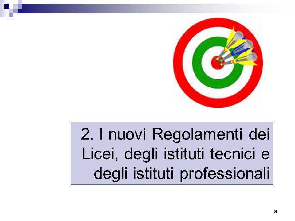 9 Il processo di riforma del secondo ciclo, culminato nellapprovazione dei 3 regolamenti governativi dei licei, degli istituti tecnici e professionali - ha come basi di riferimento generali il Dlgs 226/2005 e la legge 53/2003 (riforma Moratti) di cui modifica radicalmente limpianto, in particolare verso il superamento della prospettiva di licealizzazione del sistema, - ha come basi di riferimento specifiche il riordino previsto ai sensi dellarticolo 64, comma 4, del decreto legge 25 giugno 2008, n.