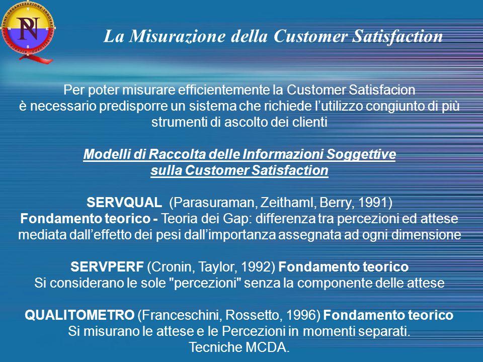Per poter misurare efficientemente la Customer Satisfacion è necessario predisporre un sistema che richiede lutilizzo congiunto di più strumenti di as