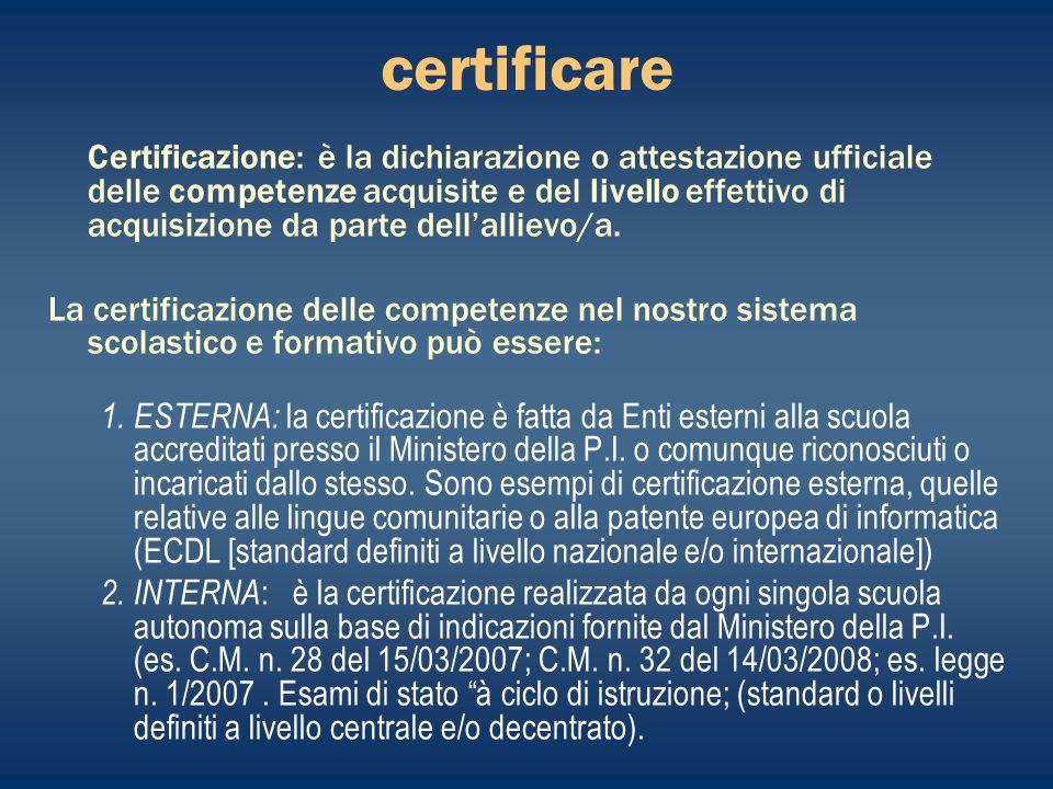 certificare Certificazione: è la dichiarazione o attestazione ufficiale delle competenze acquisite e del livello effettivo di acquisizione da parte dellallievo/a.