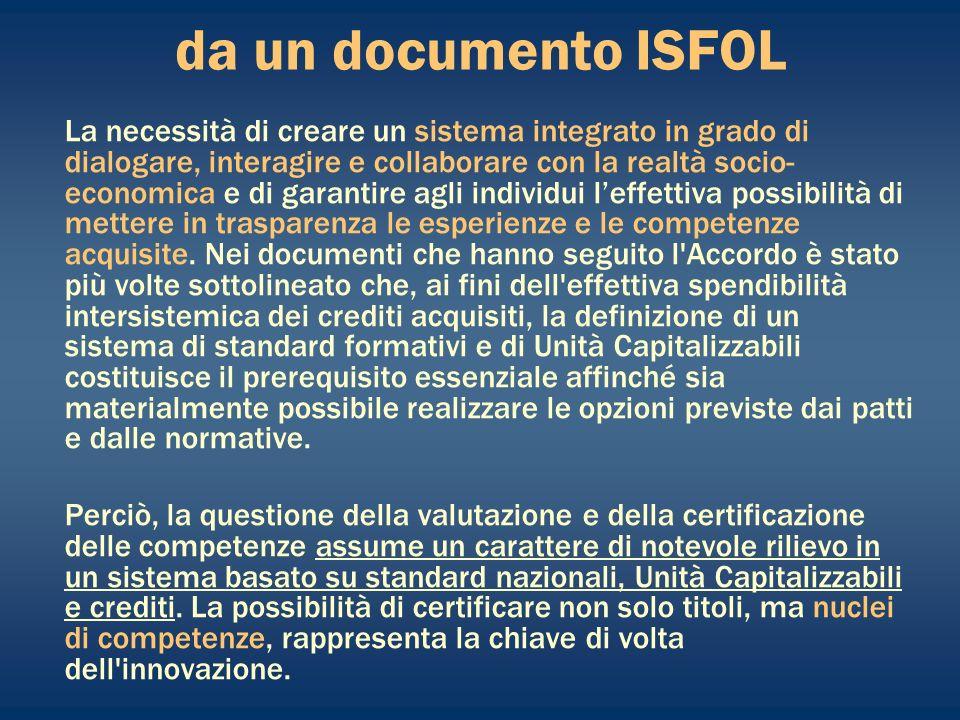 da un documento ISFOL La necessità di creare un sistema integrato in grado di dialogare, interagire e collaborare con la realtà socio- economica e di garantire agli individui leffettiva possibilità di mettere in trasparenza le esperienze e le competenze acquisite.