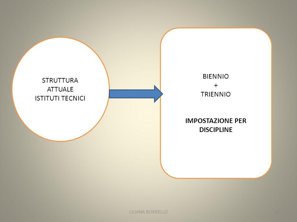 STRUTTURA ATTUALE ISTITUTI TECNICI BIENNIO + TRIENNIO IMPOSTAZIONE PER DISCIPLINE LILIANA BORRELLO12