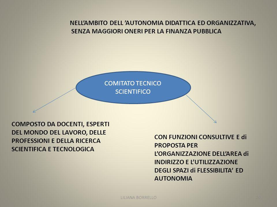 NELLAMBITO DELL AUTONOMIA DIDATTICA ED ORGANIZZATIVA, SENZA MAGGIORI ONERI PER LA FINANZA PUBBLICA COMITATO TECNICO SCIENTIFICO COMPOSTO DA DOCENTI, ESPERTI DEL MONDO DEL LAVORO, DELLE PROFESSIONI E DELLA RICERCA SCIENTIFICA E TECNOLOGICA CON FUNZIONI CONSULTIVE E di PROPOSTA PER LORGANIZZAZIONE DELLAREA di INDIRIZZO E LUTILIZZAZIONE DEGLI SPAZI di FLESSIBILITA ED AUTONOMIA LILIANA BORRELLO20