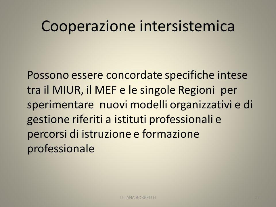 Cooperazione intersistemica Possono essere concordate specifiche intese tra il MIUR, il MEF e le singole Regioni per sperimentare nuovi modelli organizzativi e di gestione riferiti a istituti professionali e percorsi di istruzione e formazione professionale LILIANA BORRELLO27