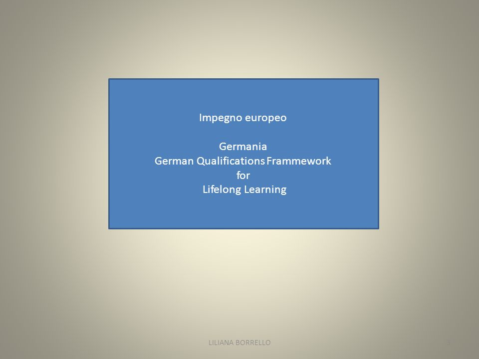 Impegno europeo Germania German Qualifications Frammework for Lifelong Learning LILIANA BORRELLO3