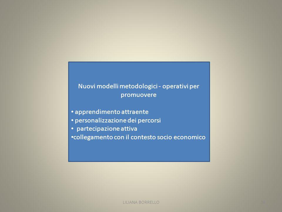 Nuovi modelli metodologici - operativi per promuovere apprendimento attraente personalizzazione dei percorsi partecipazione attiva collegamento con il contesto socio economico LILIANA BORRELLO36