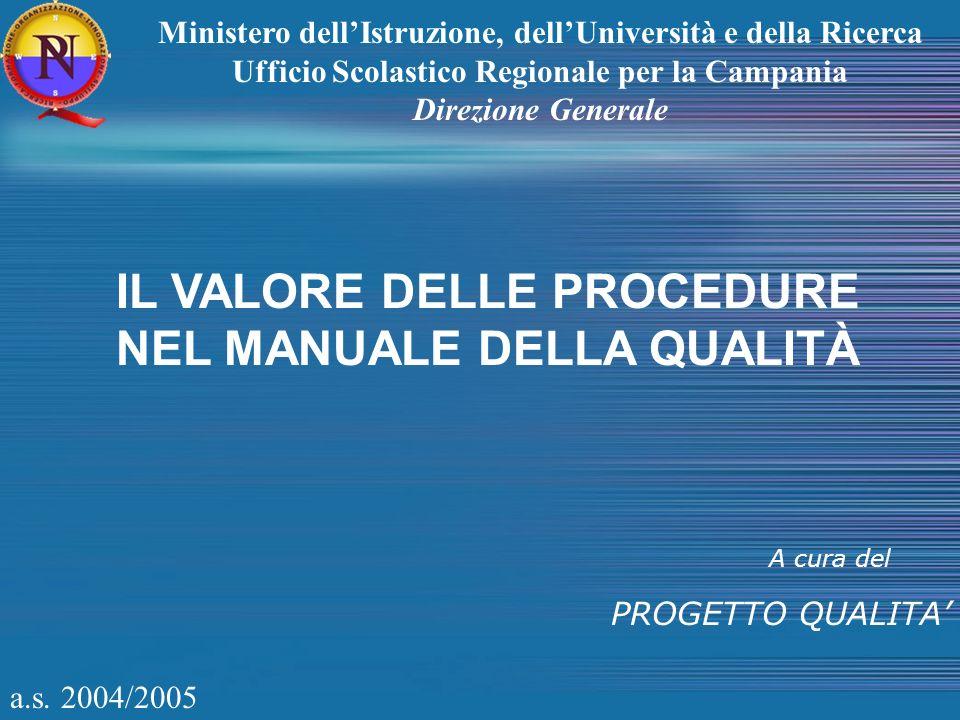 a.s. 2004/2005 A cura del PROGETTO QUALITA Ministero dellIstruzione, dellUniversità e della Ricerca Ufficio Scolastico Regionale per la Campania Direz