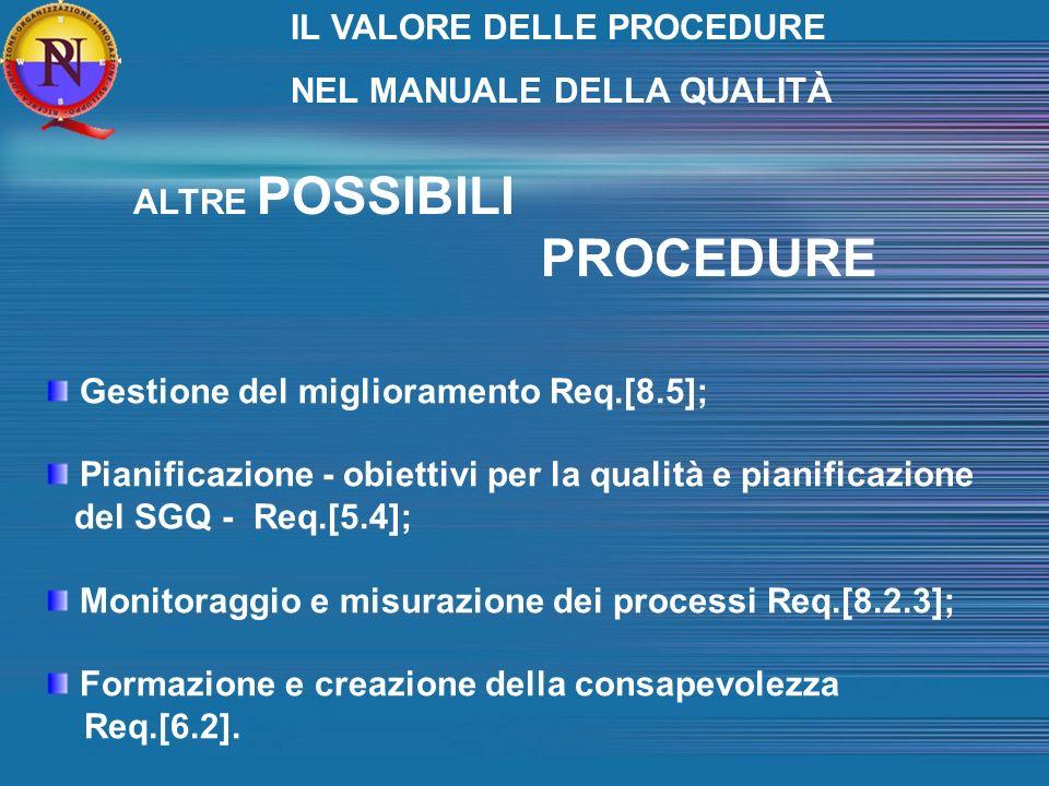 Gestione del miglioramento Req.[8.5]; Pianificazione - obiettivi per la qualità e pianificazione del SGQ - Req.[5.4]; Monitoraggio e misurazione dei processi Req.[8.2.3]; Formazione e creazione della consapevolezza Req.[6.2].