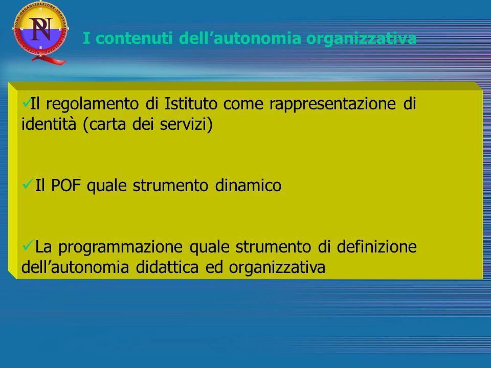 I contenuti dellautonomia organizzativa Il regolamento di Istituto come rappresentazione di identità (carta dei servizi) Il POF quale strumento dinami