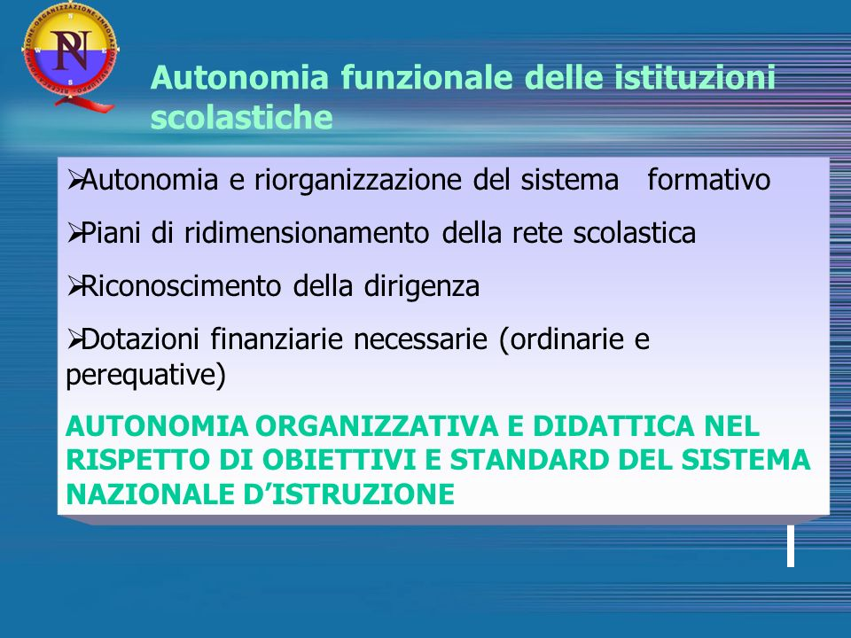 Autonomia funzionale delle istituzioni scolastiche Autonomia e riorganizzazione del sistema formativo Piani di ridimensionamento della rete scolastica