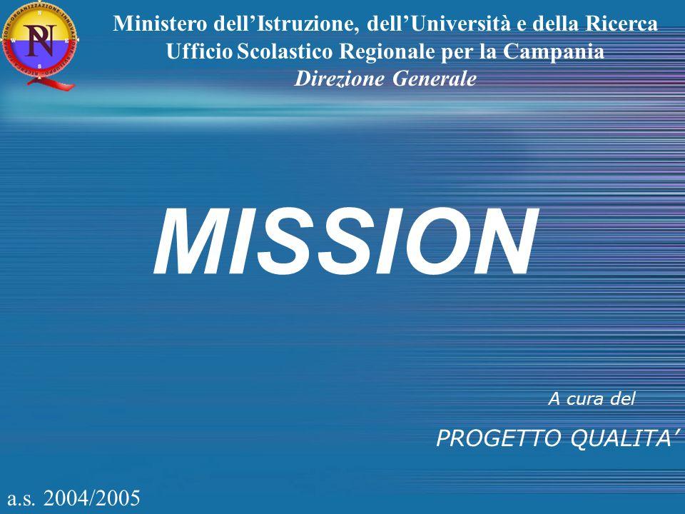 a.s. 2004/2005 MISSION A cura del PROGETTO QUALITA Ministero dellIstruzione, dellUniversità e della Ricerca Ufficio Scolastico Regionale per la Campan