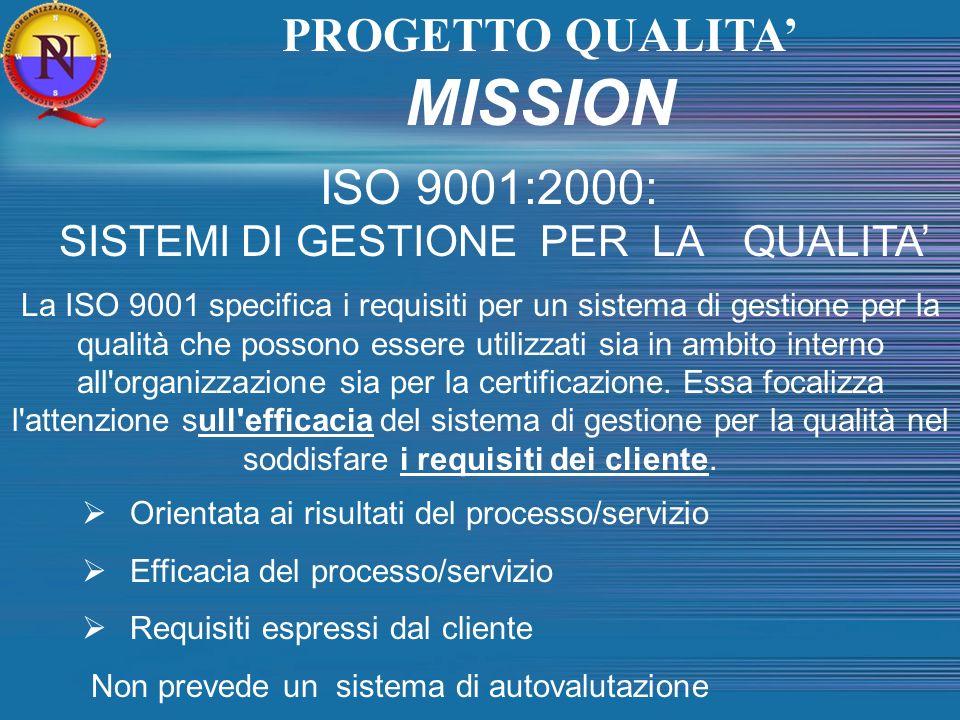 PROGETTO QUALITA MISSION ISO 9001:2000: SISTEMI DI GESTIONE PER LA QUALITA La ISO 9001 specifica i requisiti per un sistema di gestione per la qualità
