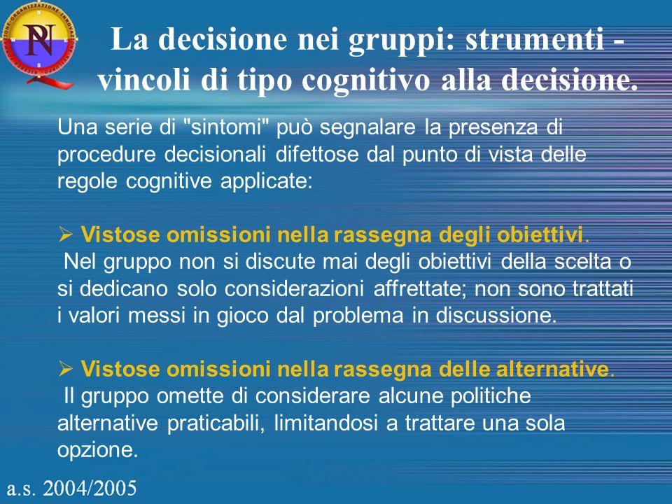Una serie di sintomi può segnalare la presenza di procedure decisionali difettose dal punto di vista delle regole cognitive applicate: Vistose omissioni nella rassegna degli obiettivi.
