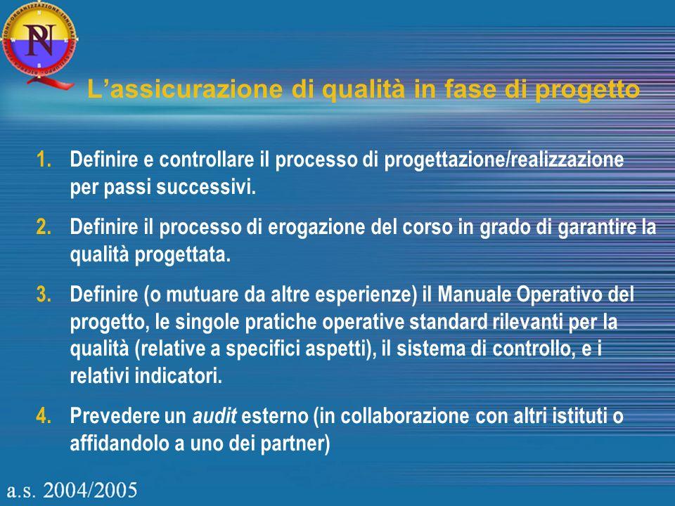 Lassicurazione di qualità in fase di progetto 1.Definire e controllare il processo di progettazione/realizzazione per passi successivi.
