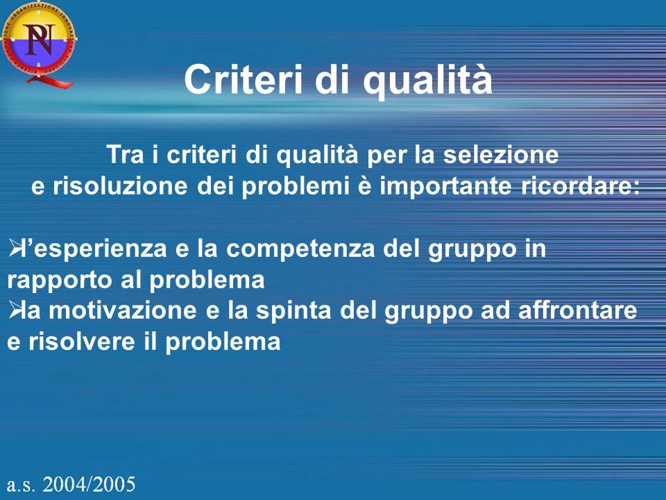 Tra i criteri di qualità per la selezione e risoluzione dei problemi è importante ricordare: lesperienza e la competenza del gruppo in rapporto al pro