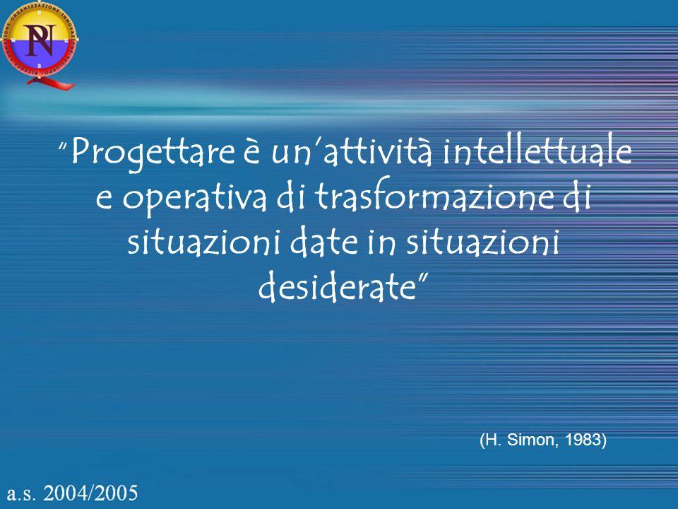 (H. Simon, 1983) Progettare è unattività intellettuale e operativa di trasformazione di situazioni date in situazioni desiderate