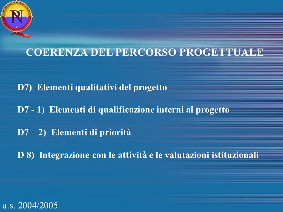 COERENZA DEL PERCORSO PROGETTUALE D7) Elementi qualitativi del progetto D7 - 1) Elementi di qualificazione interni al progetto D7 – 2) Elementi di pri